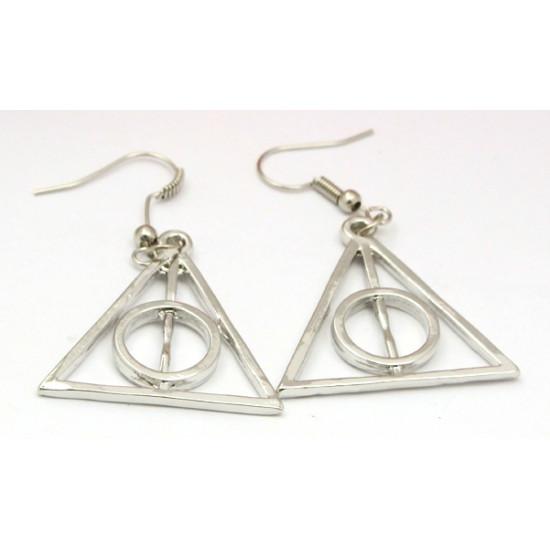 Náušnice Harry Potter relikvie smrti - stříbrné