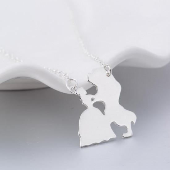 Náhrdelník stříbrný - Kráska a zvíře