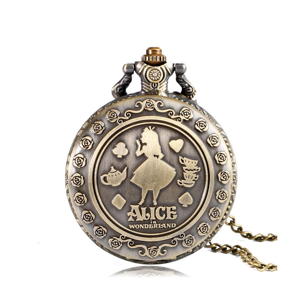 Kapesní hodinky - Alenka v říši divů (Alice in Wonderland) bronzové