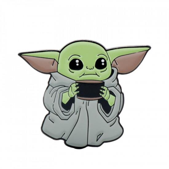 Brož Baby Yoda s hrnkem (The Mandalorian)