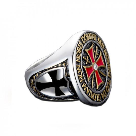 Prsten Království nebeské - Templáři černý kříž (stříbrný)