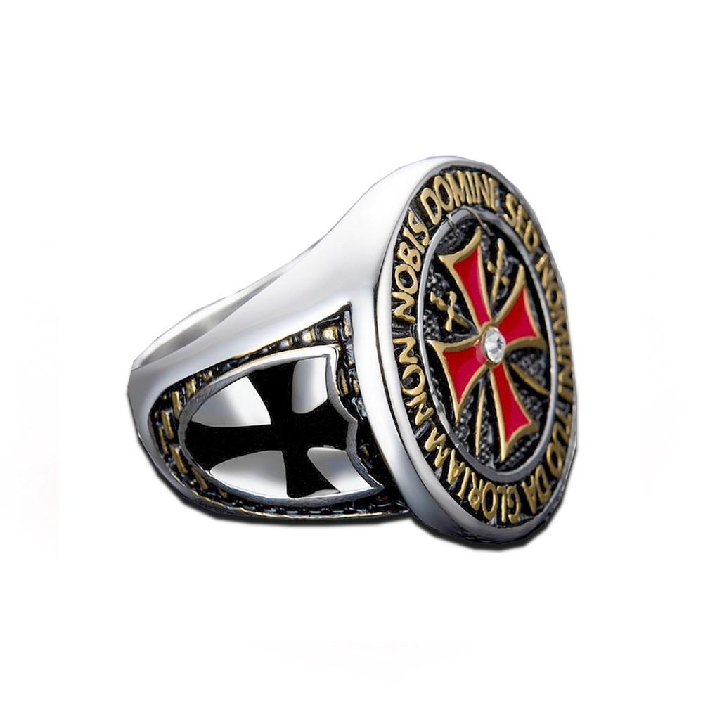 Prsten Království nebeské - Templáři černý kříž (zlatý)