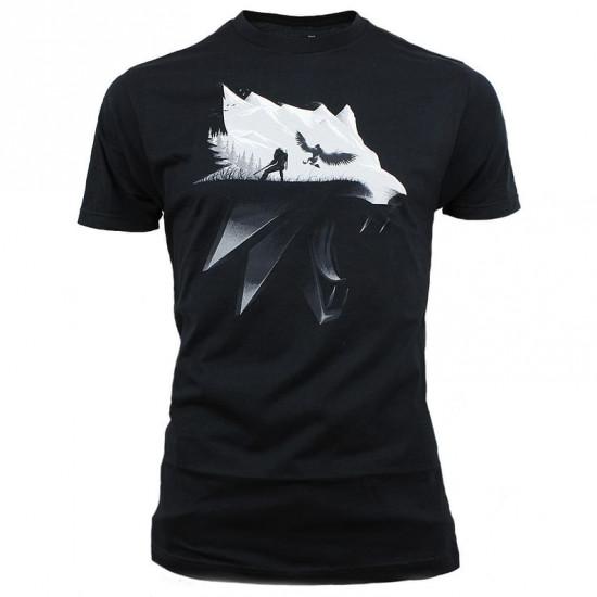 Tričko Zaklínač 3 - Wolf Silhouette