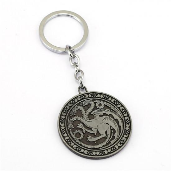 Klíčenka Game of Thrones (Hra o trůny) - Targaryen mince (stříbrná)