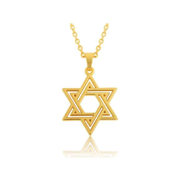 Náhrdelník Schindlerův seznam-Davidova hvězda gold