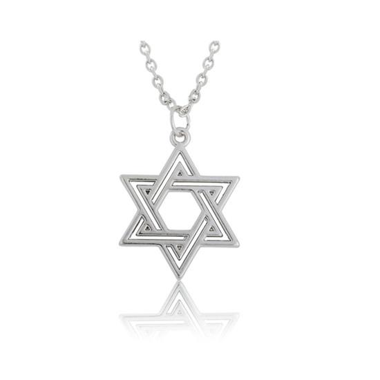 Náhrdelník Schindlerův seznam-Davidova hvězda silver