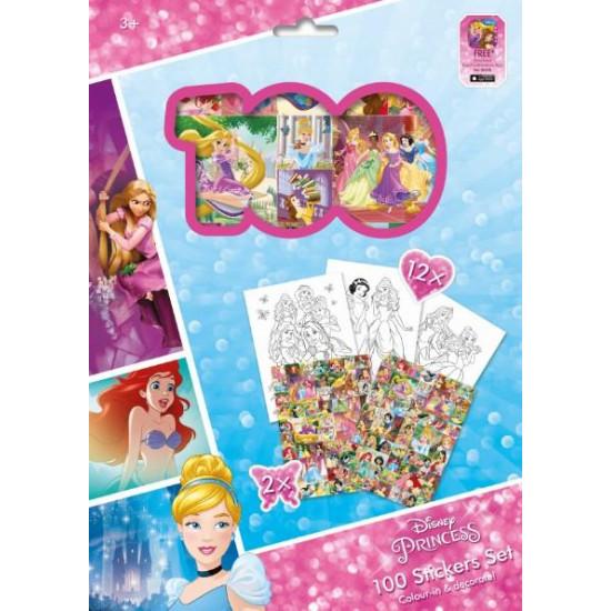 100 samolepek s omal. listy Disney Princezny