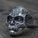 Prsten - Květinová lebka (chirurgická ocel)